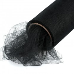 1 St. Tüll Rolle 40 cm x 9,1m, Tüll Stoff (schwarz)