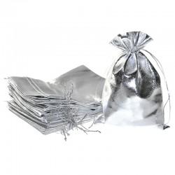 10 St. Metallic beutel 18 cm x 24 cm, Metallic Säckchen (silber)
