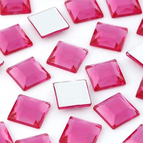 1000 St. Schmucksteine aus Acryl, Quadrate 10 x 10 mm (dunkelrosa)