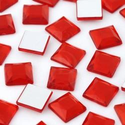 176 St. Selbstklebende Schmucksteine - Quadrate 4 x 4 mm (rot)
