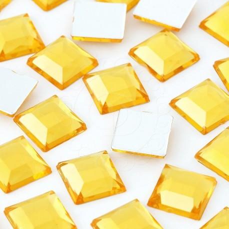 1000 St. Schmucksteine aus Acryl, Quadrate 10 x 10 mm (gold)