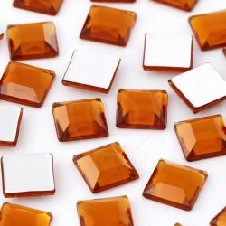 1000 St. Schmucksteine aus Acryl, Quadrate 10 x 10 mm (bernsteinfarbe)