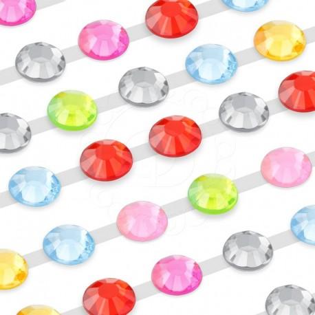 300 St. Selbstklebende Schmucksteine, (verbunden) 6 mm (farbenmix)