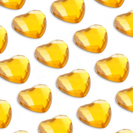 100 St. Selbstklebende Schmucksteine - Herz 6 mm (gold)