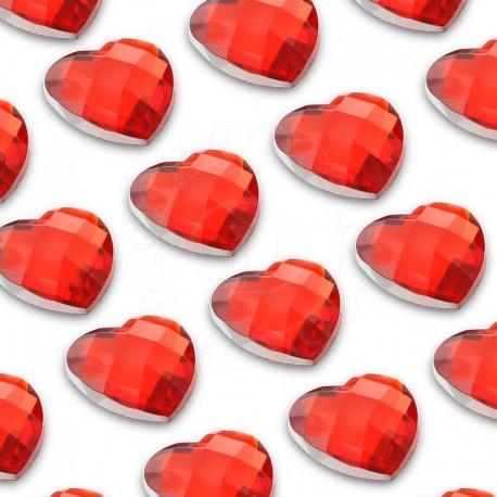 100 St. Selbstklebende Schmucksteine - Herz 6 mm (rot)