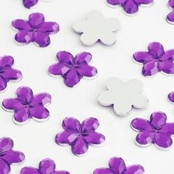 1000 St. Schmucksteine aus Acryl, Blumen 10 mm (dunkelviolett)