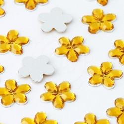 1000 St. Schmucksteine aus Acryl, Blumen 10 mm (gold)