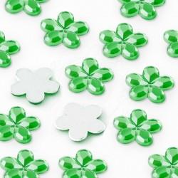 1000 St. Schmucksteine aus Acryl, Blumen 10 mm (grün)