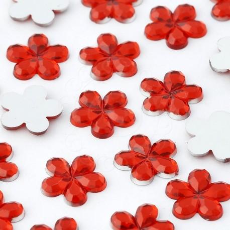 1000 St. Schmucksteine aus Acryl, Blumen 10 mm (rot)