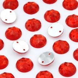 2000 St. Schmucksteine aus Acryl, Rund mit Löchern 10 mm (rot) zum Aufnähen
