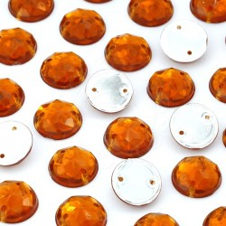 2000 St. Schmucksteine aus Acryl, Rund mit Löchern 10 mm (bernsteinfarbe) zum Aufnähen