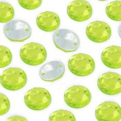 2000 St. Schmucksteine aus Acryl, Rund mit Löchern 10 mm (grün) zum Aufnähen