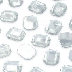 1000 St. Schmucksteine aus Acryl, Achteck 10 x 14 mm (kristall farbe)