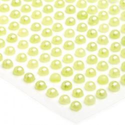 176 St. Halbperlen selbstklebend, Runde 3 mm (hellgrün)
