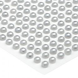 100 St. Halbperlen selbstklebend, Runde 6 mm (silber)