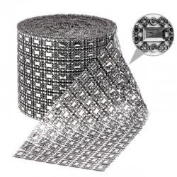 1 St. Strassband 10,5cm x 9m (Silber-schwarz)