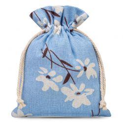 1 St. Leinensäckchen 15 cm x 20 cm bedrucken / blaue Blumen