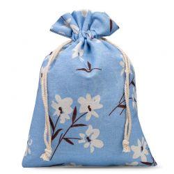 1 St. Leinensäckchen 30 x 40 cm - bedrucken /  blaue Blumen