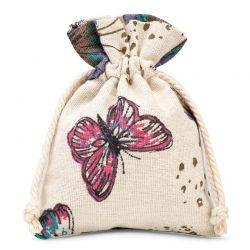 5 St. Leinensäckchen 10 cm x 13 cm bedrucken / Schmetterling