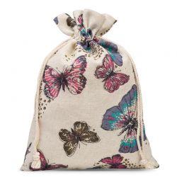 1 St. Leinensäckchen 22 cm x 30 cm - naturfarbe / Schmetterling