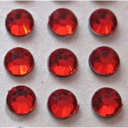 100 St. Selbstklebende Schmucksteine - Runde 5 mm (rot)